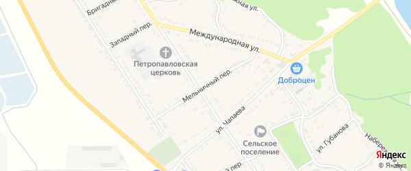Мельничный переулок на карте Вольного села Адыгеи с номерами домов