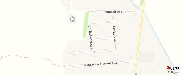 Улица Тхабисимова на карте аула Ходзь Адыгеи с номерами домов