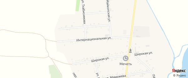 Интернациональная улица на карте аула Ходзь Адыгеи с номерами домов