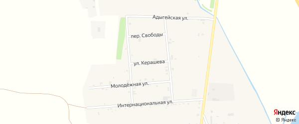 Улица Керашева на карте аула Ходзь Адыгеи с номерами домов