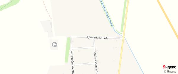 Адыгейская улица на карте аула Ходзь Адыгеи с номерами домов
