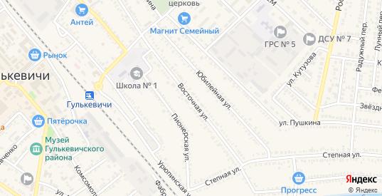 Восточная улица в Гулькевичах с номерами домов на карте. Спутник и схема онлайн