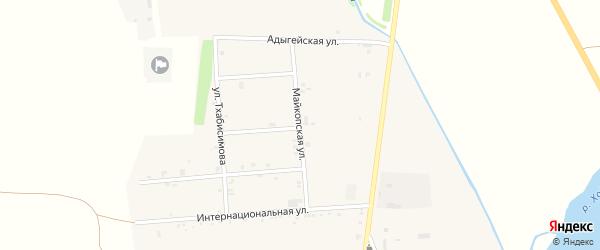 Майкопская улица на карте аула Ходзь Адыгеи с номерами домов