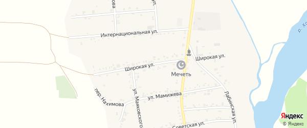 Широкая улица на карте аула Ходзь Адыгеи с номерами домов