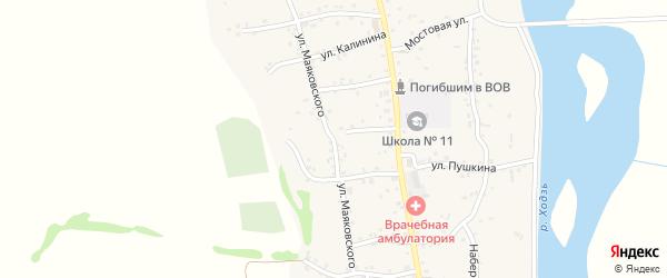 Улица Маяковского на карте аула Ходзь Адыгеи с номерами домов
