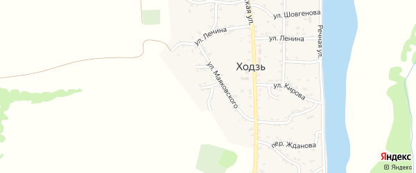 Переулок Лермонтова на карте аула Ходзь Адыгеи с номерами домов
