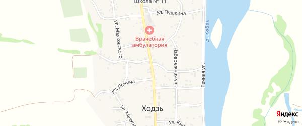 Улица Шовгенова на карте аула Ходзь с номерами домов