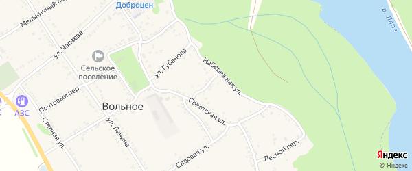 Кузнечный переулок на карте Вольного села Адыгеи с номерами домов