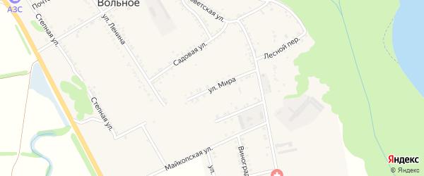 Улица Мира на карте Вольного села Адыгеи с номерами домов