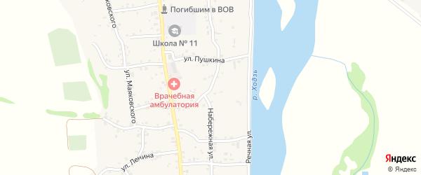 Набережная улица на карте аула Ходзь Адыгеи с номерами домов