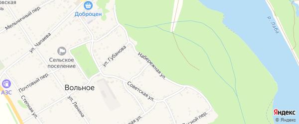 Набережная улица на карте Вольного села Адыгеи с номерами домов