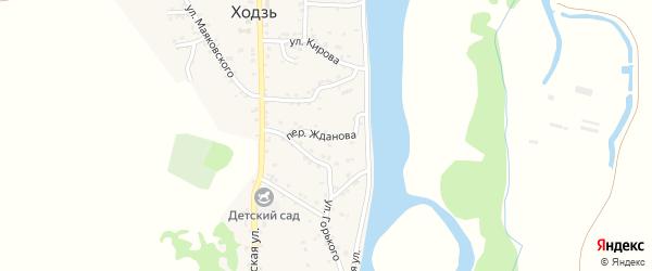 Переулок Жданова на карте аула Ходзь Адыгеи с номерами домов