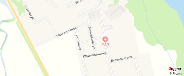 Виноградная улица на карте Вольного села Адыгеи с номерами домов