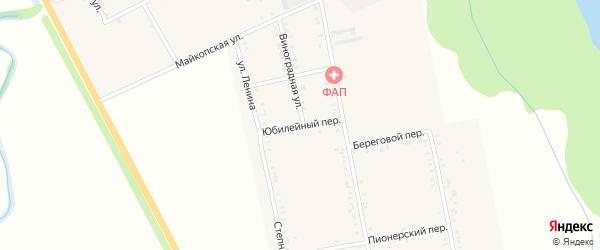Юбилейный переулок на карте Вольного села Адыгеи с номерами домов
