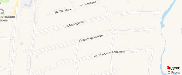 Пролетарская улица на карте села Староюрьева Тамбовской области с номерами домов