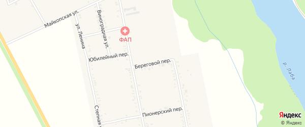 Береговой переулок на карте Вольного села Адыгеи с номерами домов