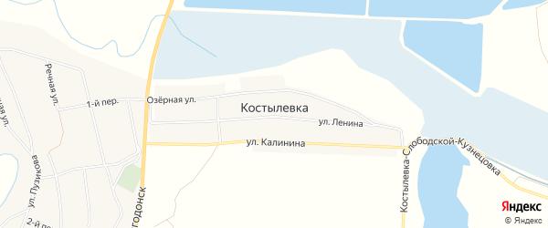Карта хутора Костылевки в Ростовской области с улицами и номерами домов