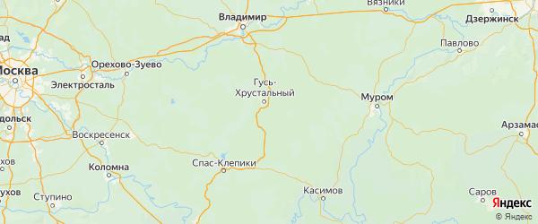 Карта Гусь-хрустального района Владимирской области с городами и населенными пунктами