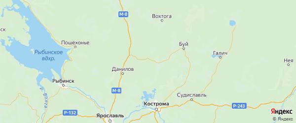 Карта Любимского района Ярославская области с городами и населенными пунктами