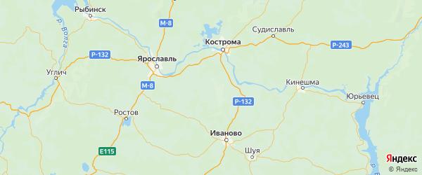 Карта Нерехтского района Костромской области с городами и населенными пунктами