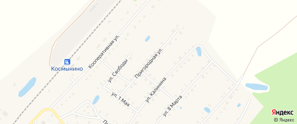 Пригородная улица на карте поселка Космынино Костромской области с номерами домов