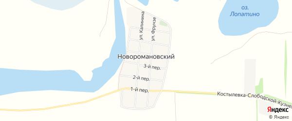 Карта Новоромановского хутора в Ростовской области с улицами и номерами домов