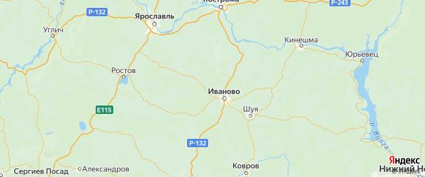 Карта Ивановского района Ивановской области с городами и населенными пунктами