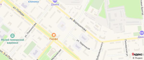 Улица Мельникова на карте Новодвинска с номерами домов