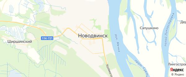 Карта Новодвинска с районами, улицами и номерами домов