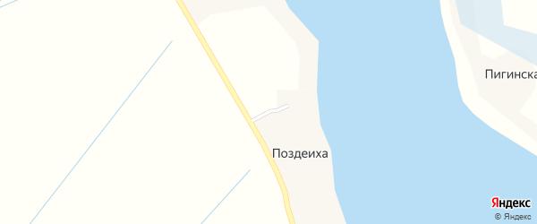 Улица Новостроек на карте деревни Поздеихи Архангельской области с номерами домов