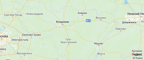 Карта Судогодского района Владимирской области с городами и населенными пунктами