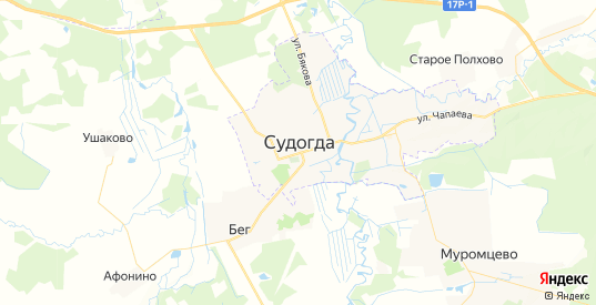 Карта Судогды с улицами и домами подробная. Показать со спутника номера домов онлайн