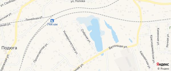 Озерная улица на карте поселка Подюги с номерами домов