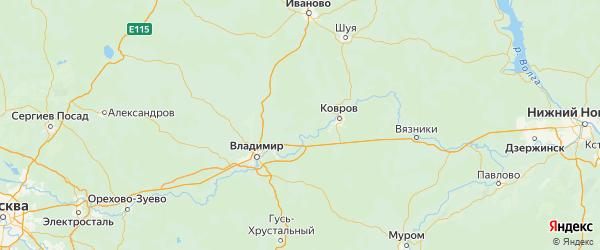 Карта Камешковского района Владимирской области с городами и населенными пунктами