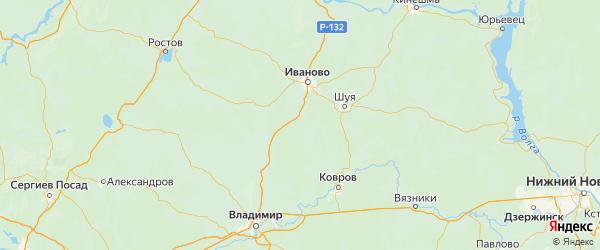 Карта Лежневского района Ивановской области с городами и населенными пунктами
