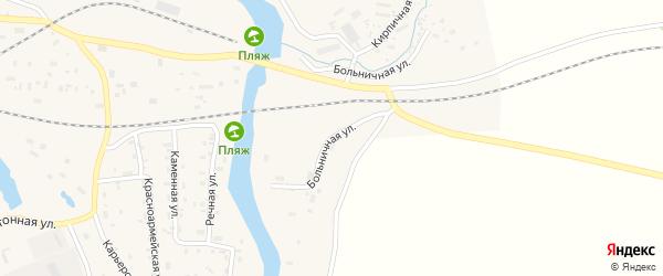 Больничная улица на карте поселка Подюги с номерами домов