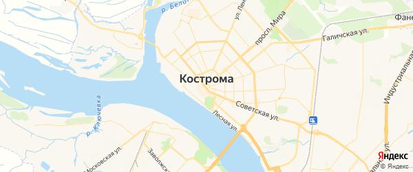 Карта Кострома с районами, улицами и номерами домов