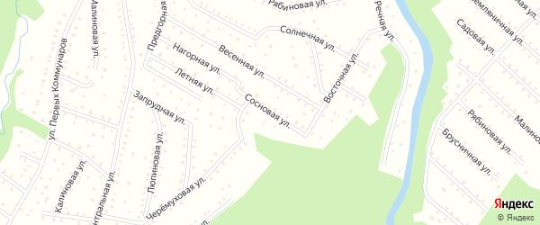 Сосновая улица на карте населенного пункта СНТ Зори Севера с номерами домов