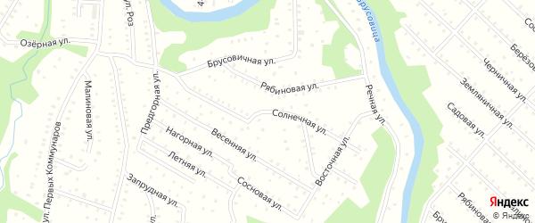 Солнечная улица на карте населенного пункта СНТ Зори Севера с номерами домов