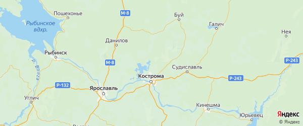Карта Костромского района Костромской области с городами и населенными пунктами