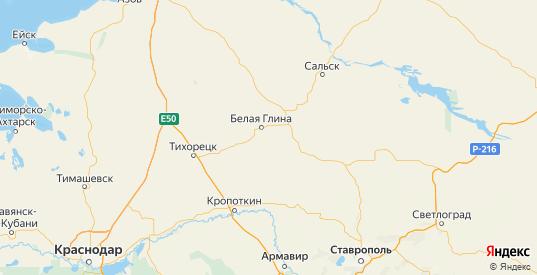 Карта Белоглинского района Краснодарского края с городами и населенными пунктами