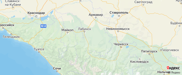 Карта Лабинского района Краснодарского края с городами и населенными пунктами