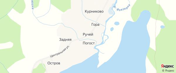 Карта деревни Ручья в Архангельской области с улицами и номерами домов