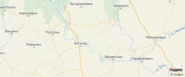 Карта Петропавловский района Воронежской области с городами и населенными пунктами