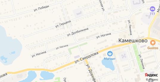 Улица Ногина в Камешково с номерами домов на карте. Спутник и схема онлайн