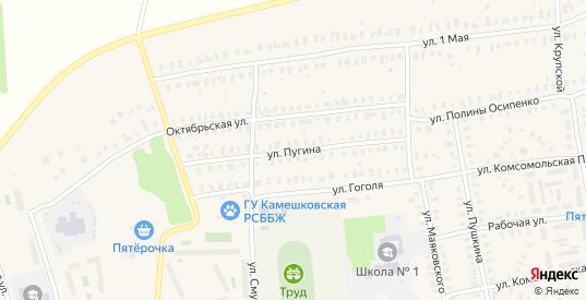 Улица Пугина в Камешково с номерами домов на карте. Спутник и схема онлайн
