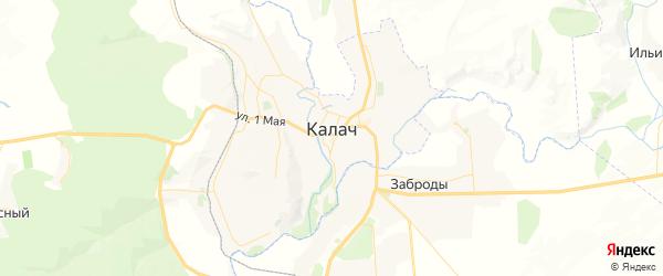 Карта Калача с районами, улицами и номерами домов: Калач на карте России