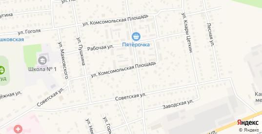 Комсомольская площадь в Камешково с номерами домов на карте. Спутник и схема онлайн