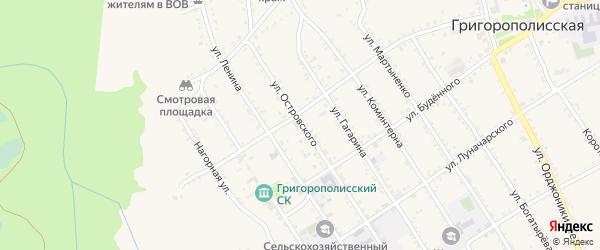 Улица Островского на карте Григорополисской станицы Ставропольского края с номерами домов