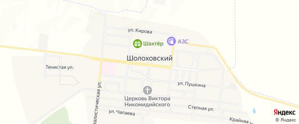 Территория 107 на карте Шолоховского поселка Ростовской области с номерами домов